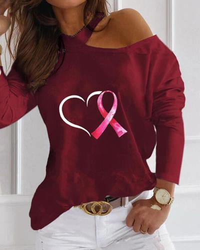 Print Love Heart One-Shoulder Long Sleeves Casual Blouses