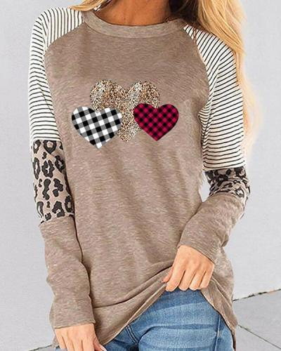 Valentine's Day Love Heart Print Long Sleeves Casual T-shirts