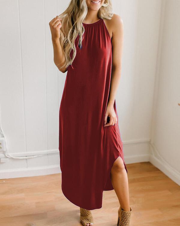 Solid Color Sleeveless Halterneck Dress