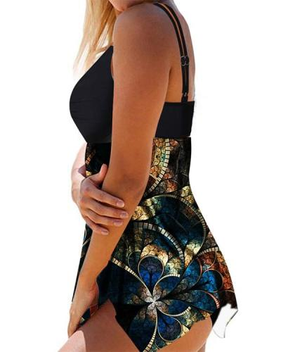 Double Strap Psychedelic Print Ring Detail Swimdress and Panty