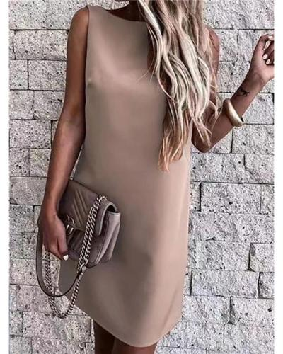 Solid Color Open Back Sleeveless Mini Dress
