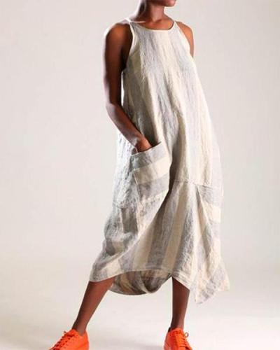 Casual Linen Stripe Women Pocket Dress