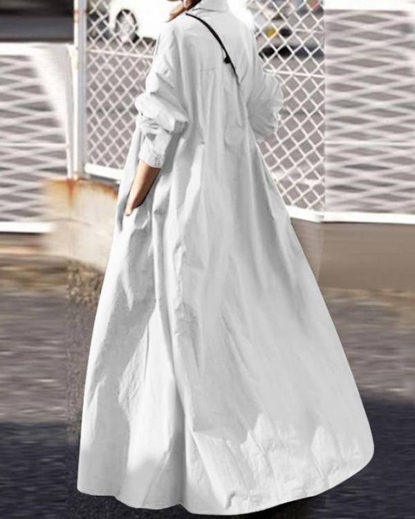Solid Shirt Collar Loose Fit Big Hem Long Sleeve Maxi Dress