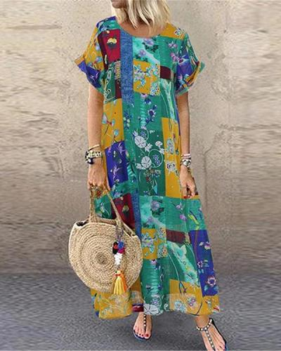 Floral Print Short Sleeve Summer Plus Size Dress