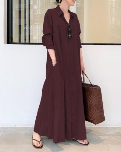 Casual Solid Cotton Linen Shirt Collar Long Sleeve Maxi Dress
