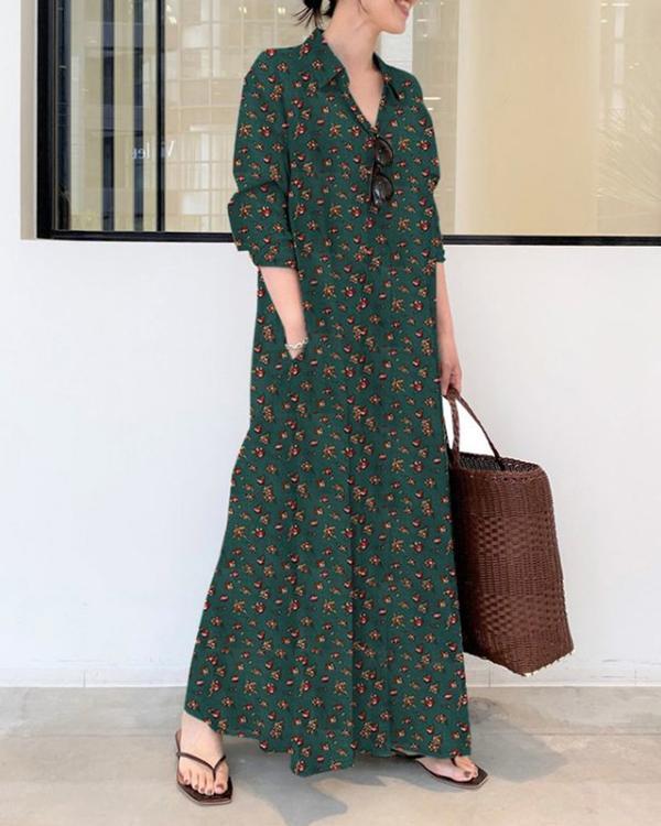 Casual Print Cotton Linen Shirt Collar Long Sleeve Maxi Dress