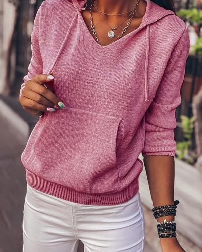 Solid Color Hooded Casual Sweaters