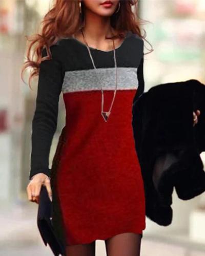 Color Block Round Neck Long Sleeve Bodycon Dress