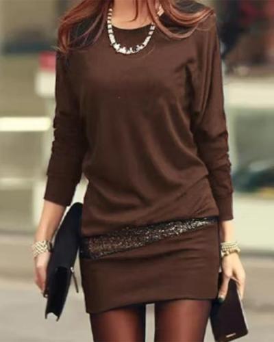 Sequin Round Neck Long Sleeve Mini Dress