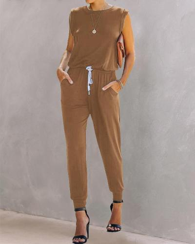 Women Casual Plain Color Sleeveless Jumpsuit