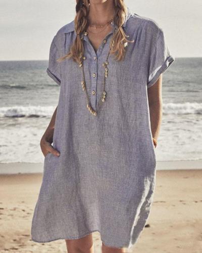 Casual Plain Color Short Sleeve Shirts & Dresses