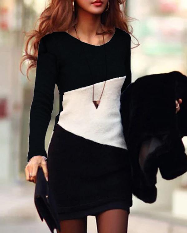 Bodycon Round Neck Long Sleeve Dress