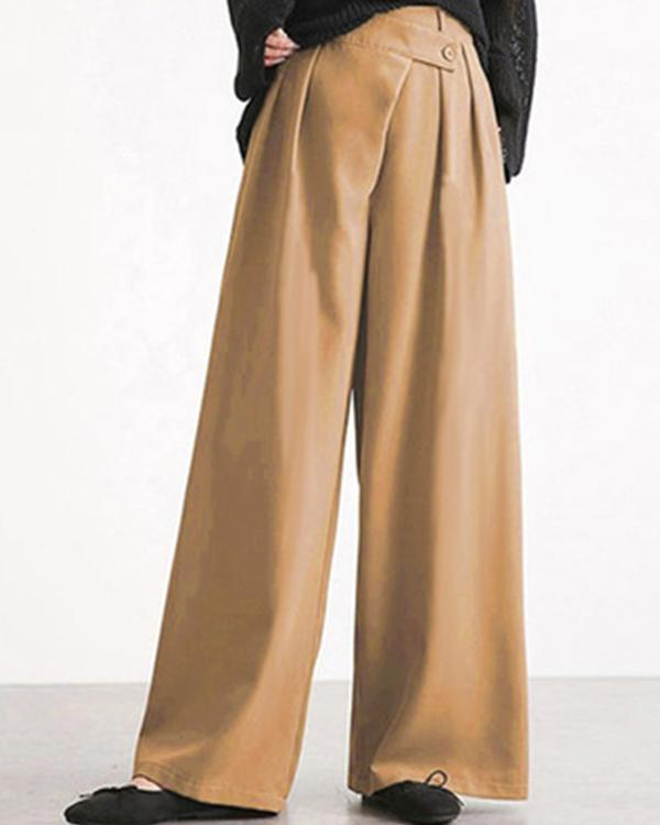 Fashion Personality Irregular Waistband Design Wide Leg Pants