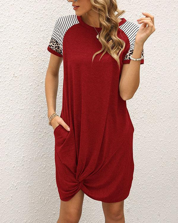 Women Stripe Leopard Contrast Casual Short Sleeve Mini Dress