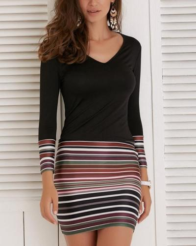 Long Sleeve Striped Short Tight Waist Dress