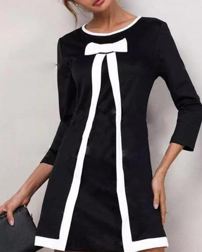 Solid Round Neckline 3/4 Sleeves Above Knee A-line Dress