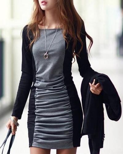 Color Block Long Sleeve Bosycon Dress