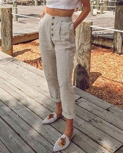 Women Plain Buttoned Pockets New Pants