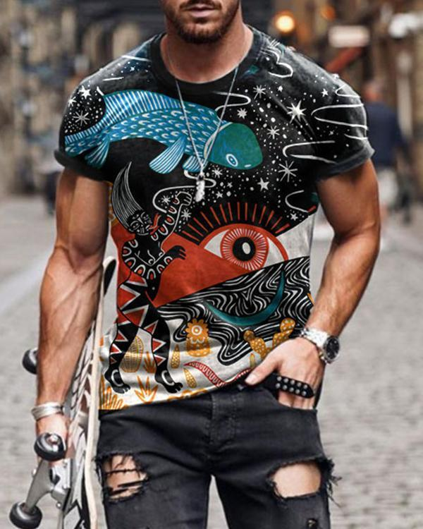 Men's Graffiti Print Short Sleeve T-shirt