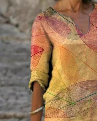 Leaves Print V Neck Short Sleeve Midi Dress