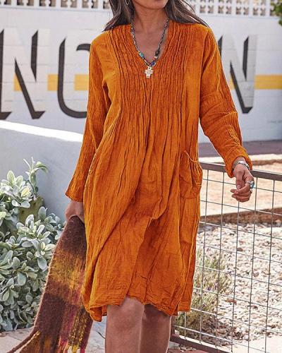 Vintage Casual V Neck Solid Linen Dresses