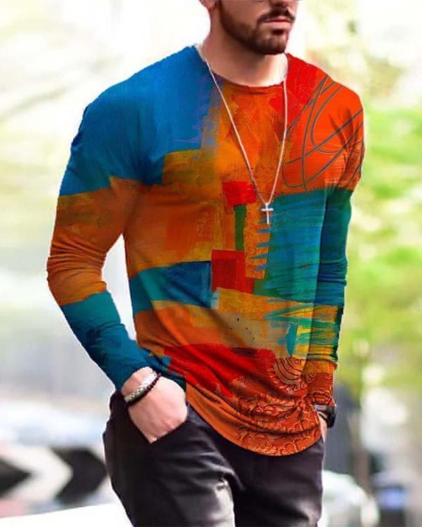 Men's Contrast Block Painting Print Long Sleeve T-shirt
