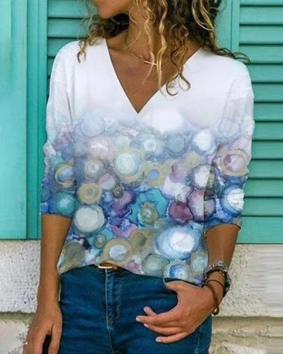 Print Long Sleeve Casual V Neck Shirts & Tops