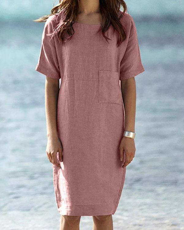 Solid Round Neck Linen Cotton Midi Dress With Pocket