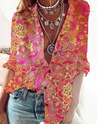 Women Vintage Floral Print Shirt Collar Long Sleeve Shirts