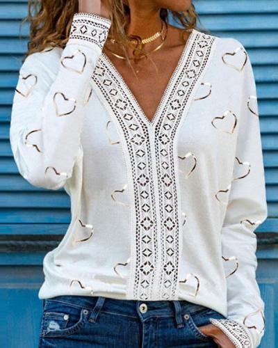 Print V Neck Lace Hollow Long Sleeves Casual Blouses