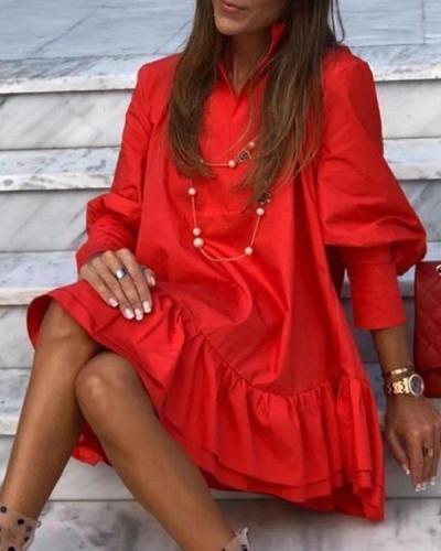 Solid Color Long Sleeve Mini Ruffled Dress