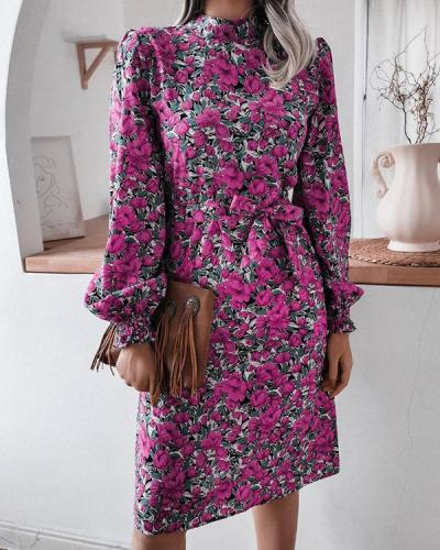 Women Floral Print Elegant Dress
