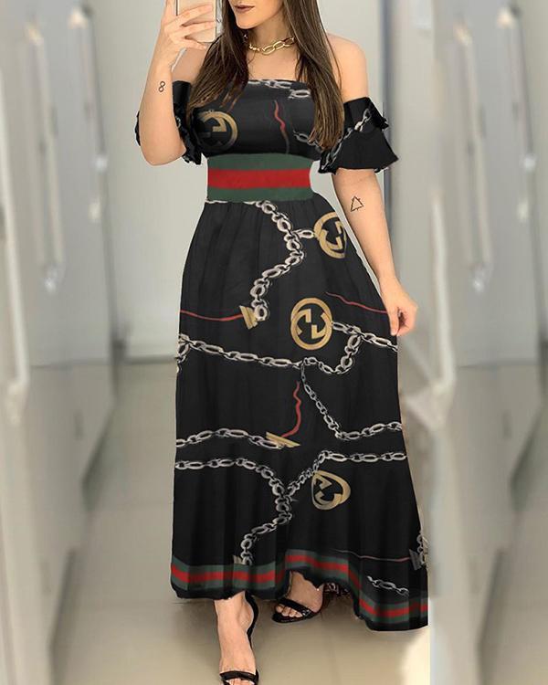 Off Shoulder Chain Print Slim Maxi Dress