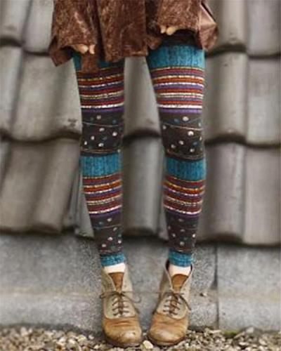 Women Stripe Vintage Print Leggings Casual Pants
