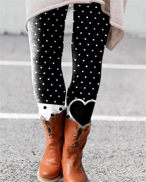 Women Vintage Print Leggings Casual Daily Pants