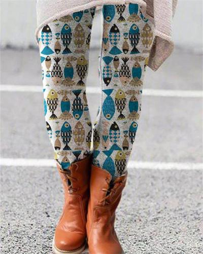 Women Vintage Print Leggings Casual Boho Pants