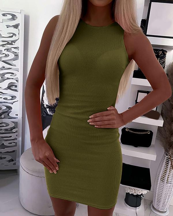 Women Solid Color Bodycon Mini Dresses