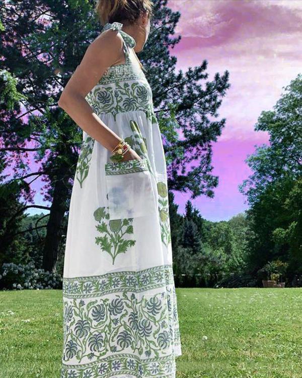 Cotton Blend Sleeveless Holiday Floral Dress