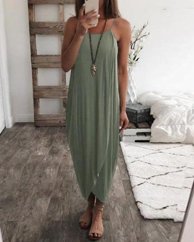 Solid Sling Holiday Irregular Maxi Dresses