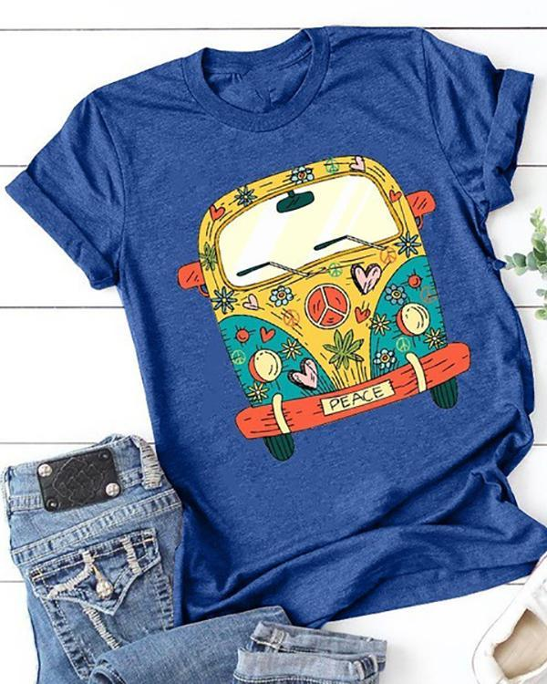 Women Printed Crew Neck Short Sleeve Casual T-shirts