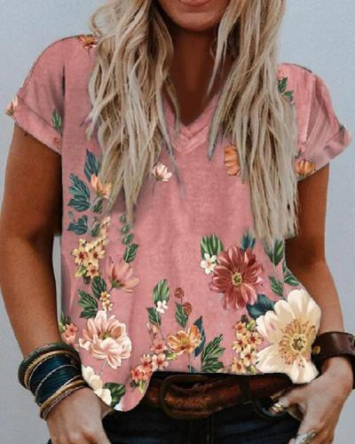 Women Casual Floral V Neck Short Sleeve Shirts