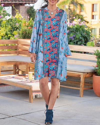 Long Sleeve Bohemian V Neck Holiday Floral Dress