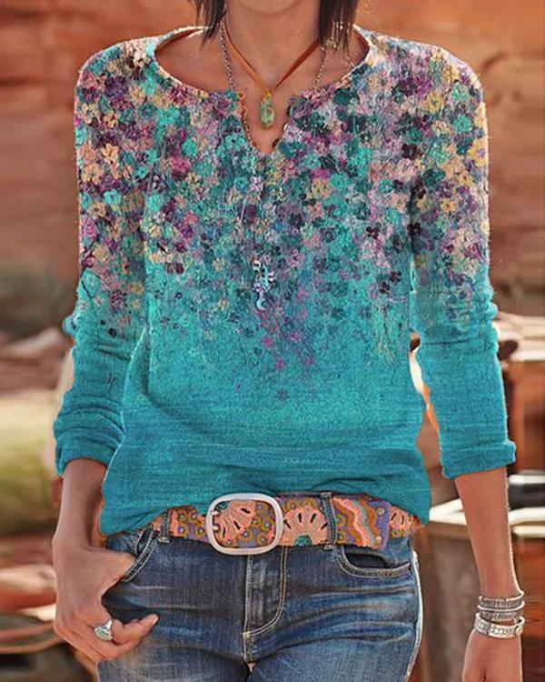 Women Vintage Sweetheart Printed Long Sleeve Shirts