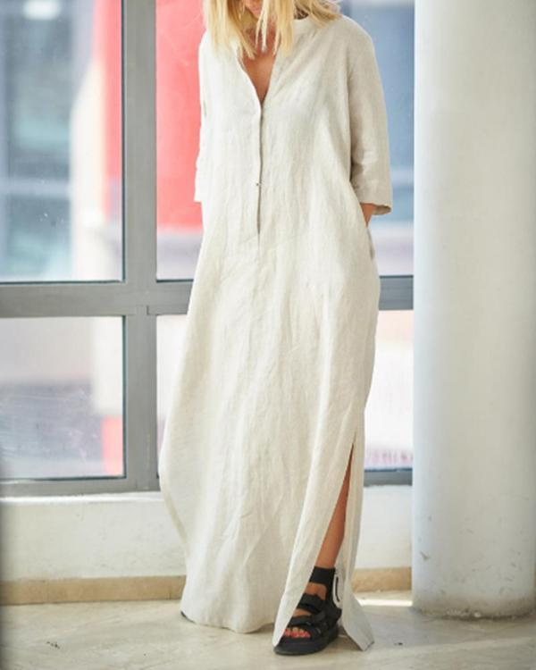 Women's V-neck Solid Color Linen Dress