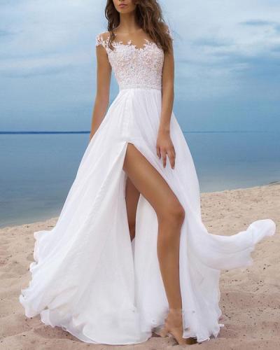 Elegant Flowy Lace Holiday Wedding Dress