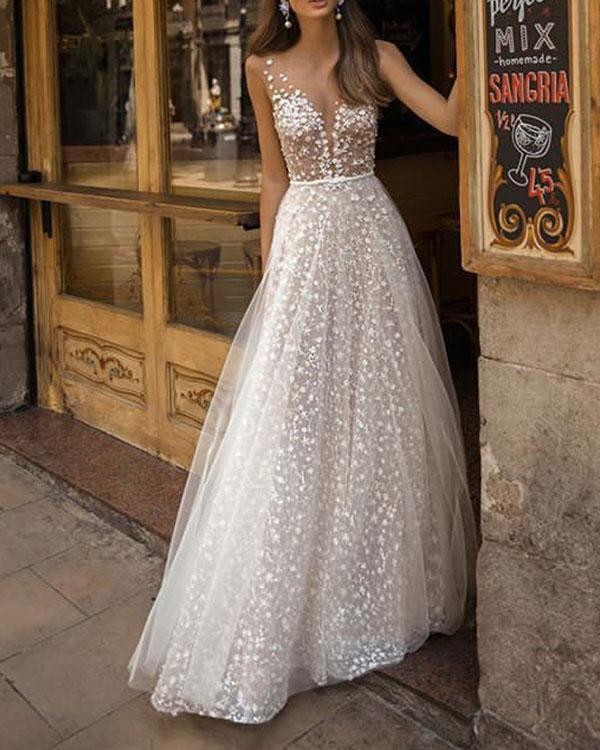 Elegant Flowy Lace Holiday Backless Wedding Dress