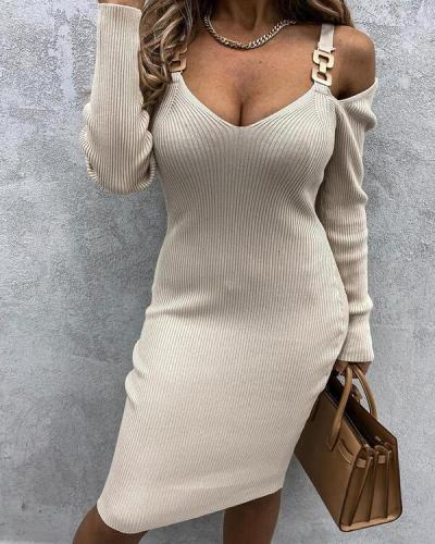 Solid Long Sleeves Bodycon Knee Length Dresses