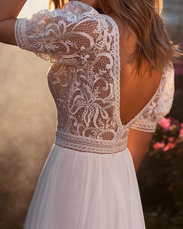 Elegant Backless Short Sleeve Wedding Dress Holiday Slit Dress