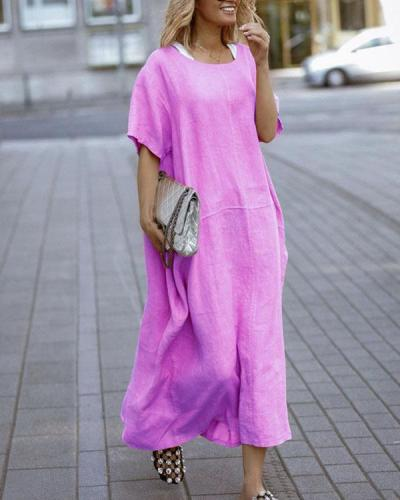 Casual Short Sleeve Loose Fit Solid Dresses