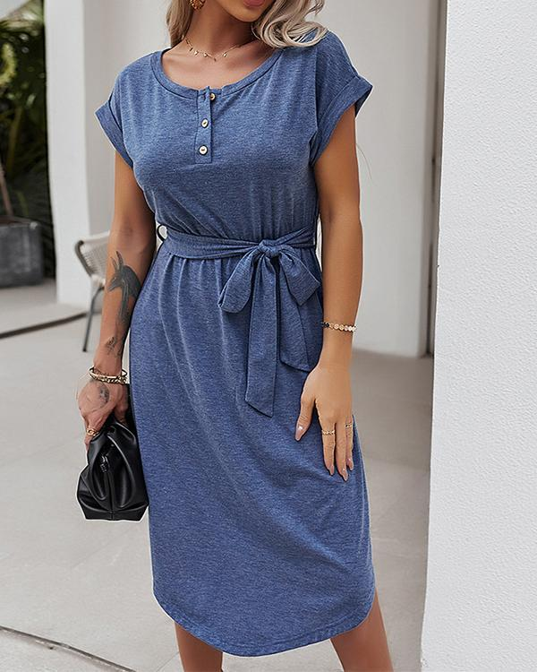 Holiday Solid Color Short Sleeve Dress